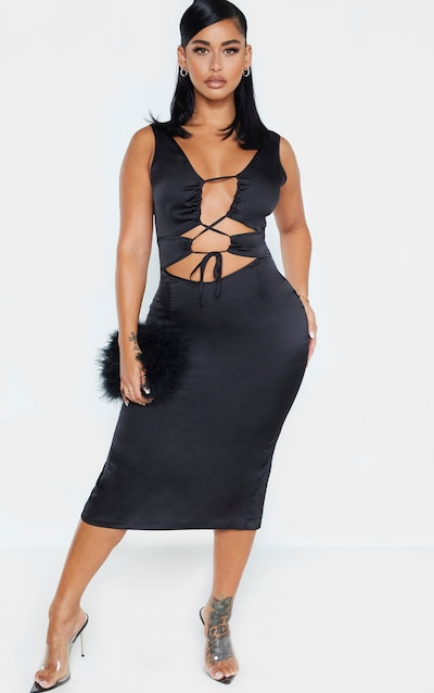 Shape Black Satin Cut Out Midi Dress