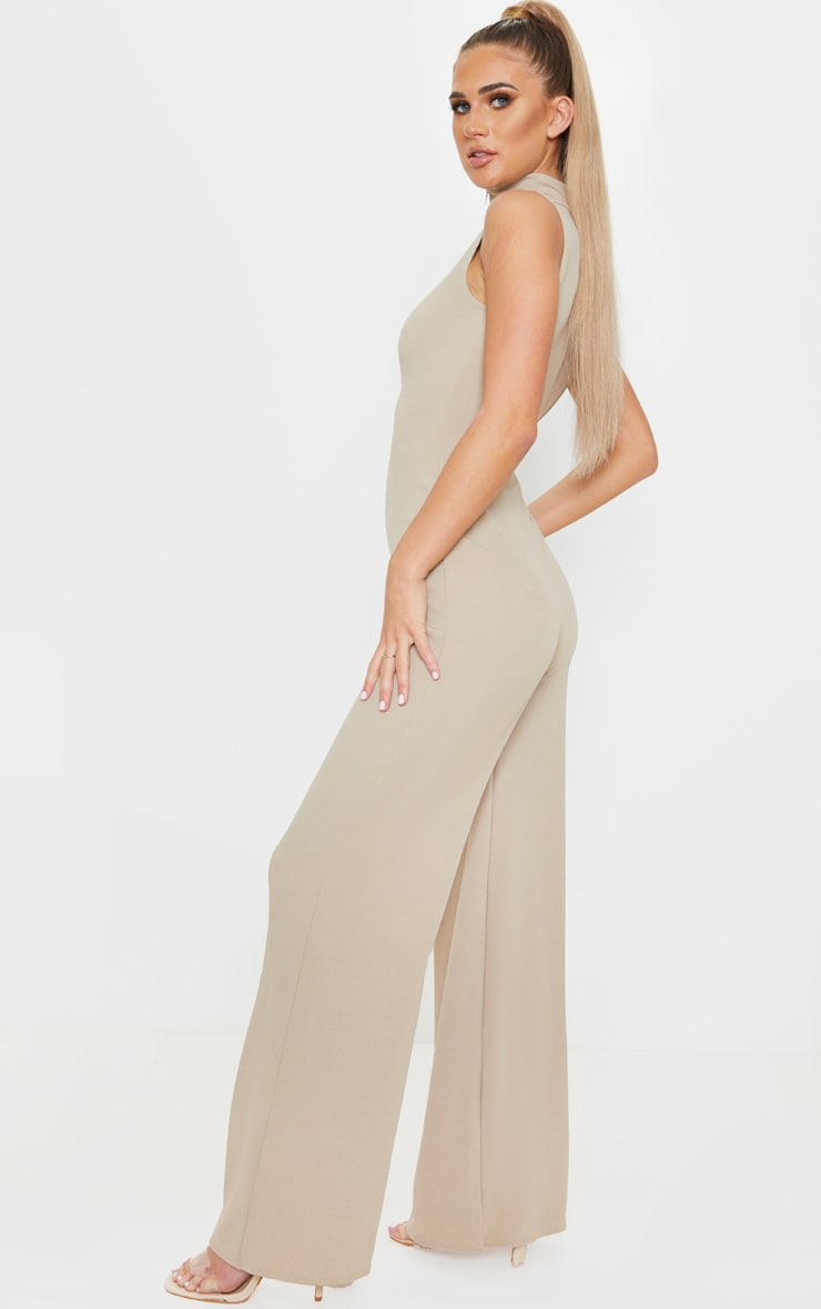 Stone High Neck Wide Leg Rib Jumpsuit 2