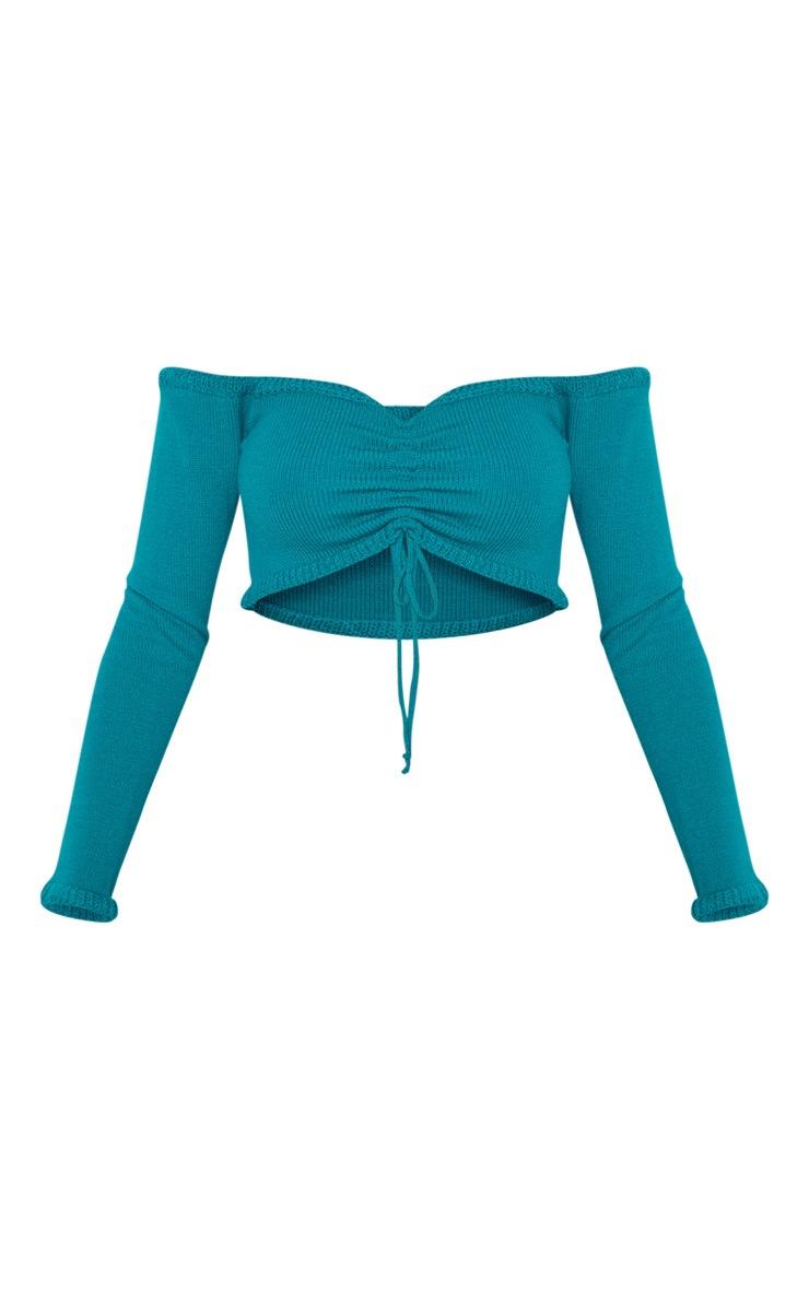 Top en maille bleu sarcelle froncé à manches longues 3