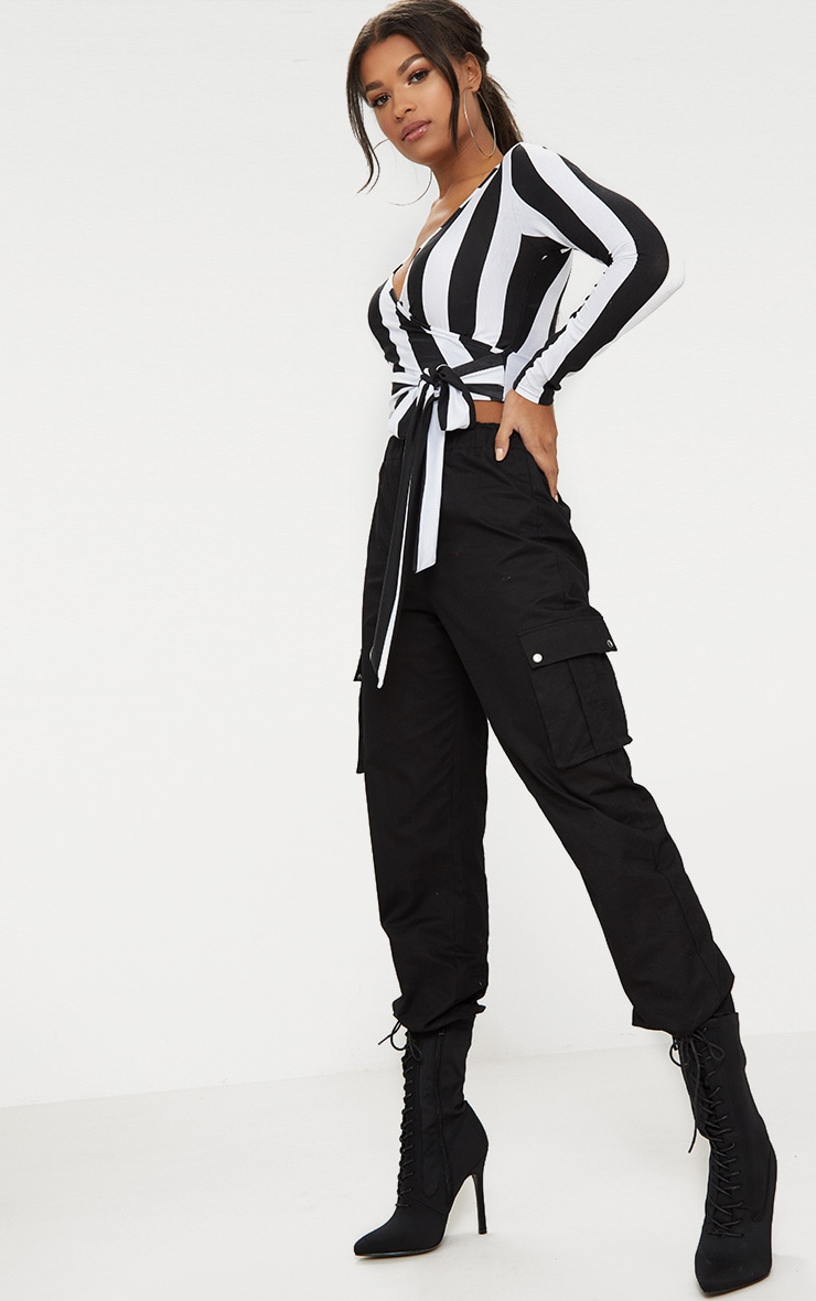 Black/ White Bold Stripe Tie Waist Crop Top  4