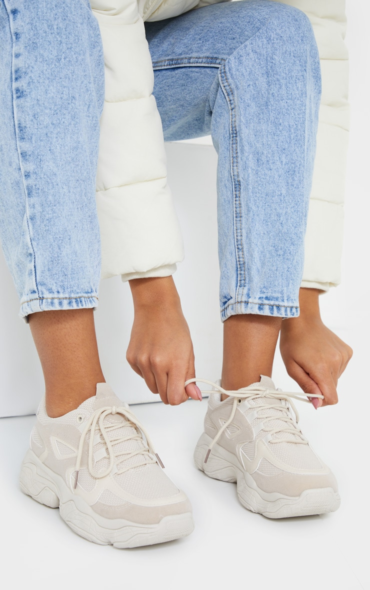 Stone Chunky Bubble Sole Panelled Up Sneakers 2