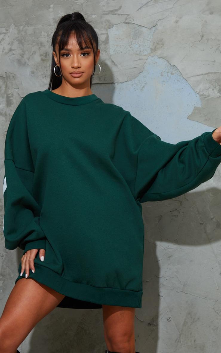 Petite Dark Green Buffalo New York Slogan Sweatshirt Dress 3