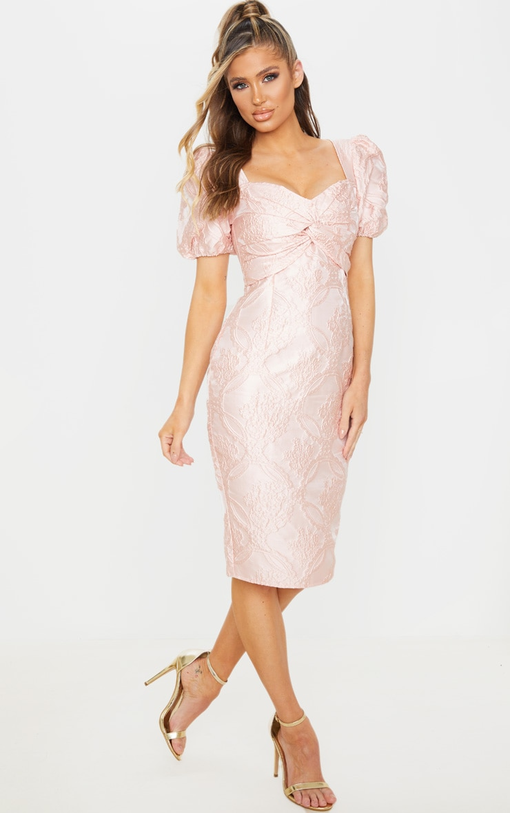 Dusty Pink Puff Sleeve Twist Front Jacquard Midi Dress 1