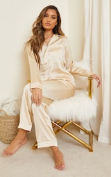 Champagne Mix And Match Piped Detail Satin Long Sleeve PJ Shirt 3