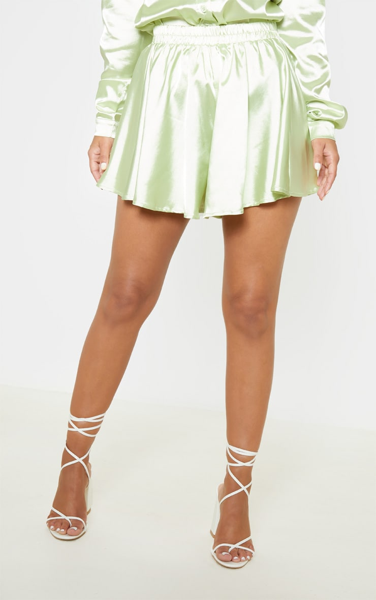 Petite Light Lime Floaty Satin Shorts  2