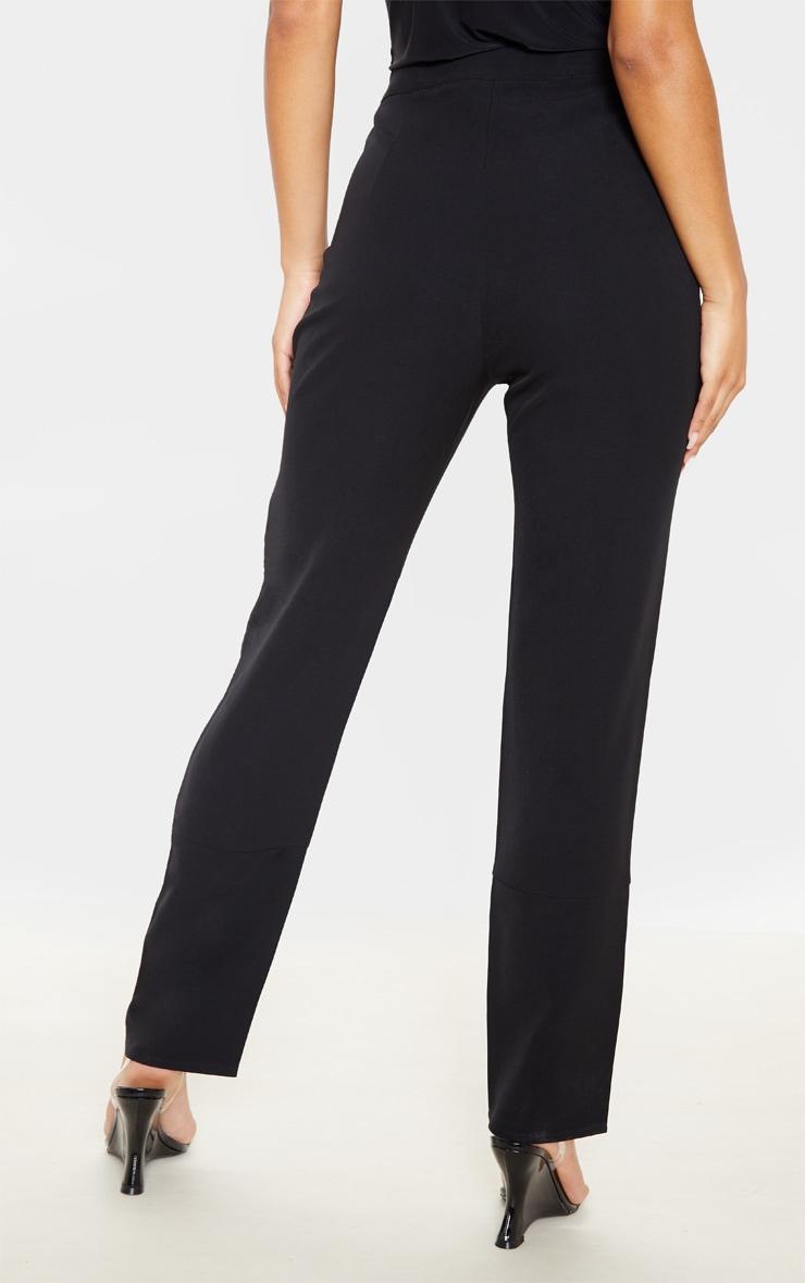 Black Woven Button Cuff Detail Straight Leg Pants 4