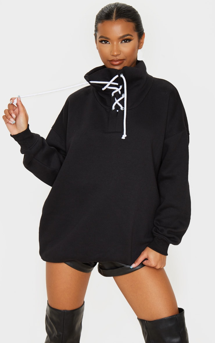 Black Lace Up High Neck Sweater 1