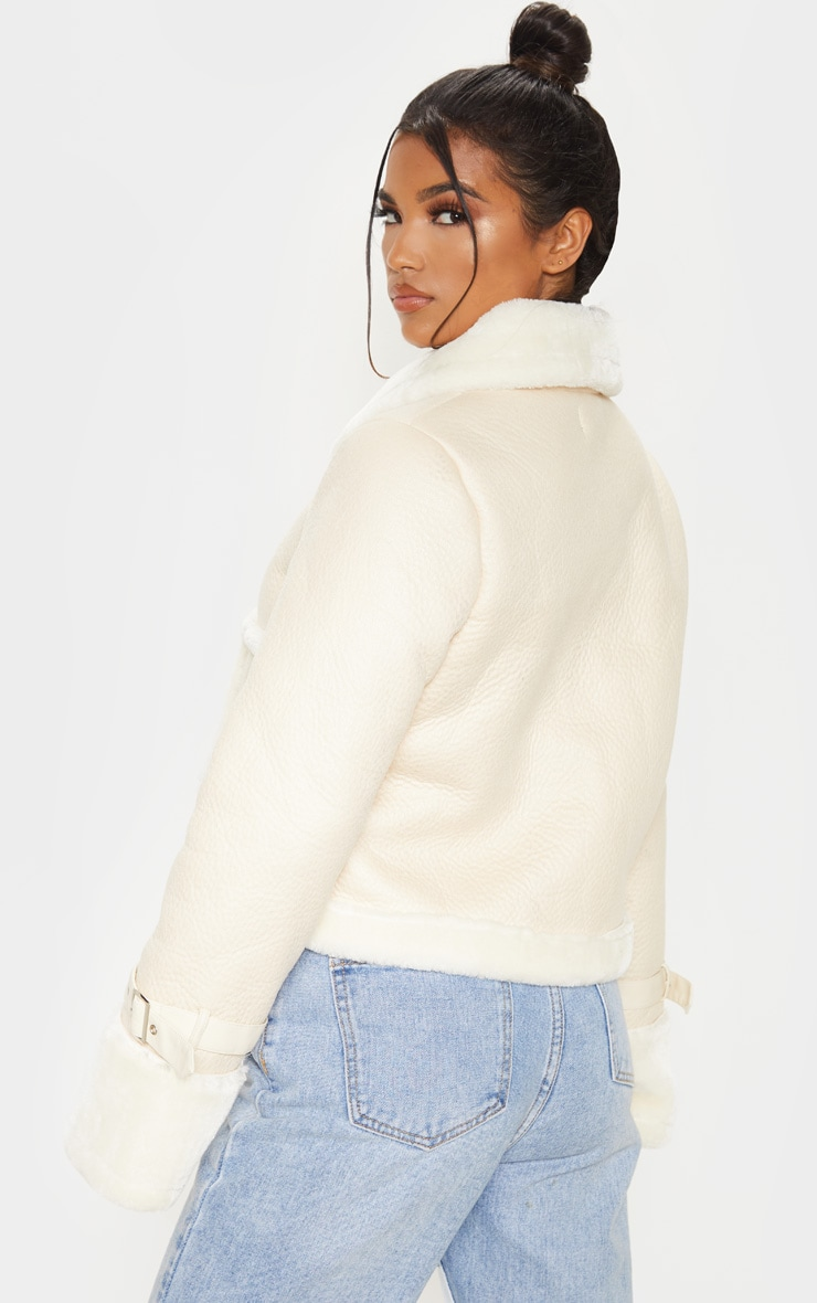 Cream Borg Trim Cropped PU Jacket 2