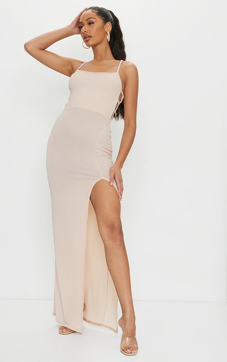 Nude Textured Glitter Split Maxi Dress 1
