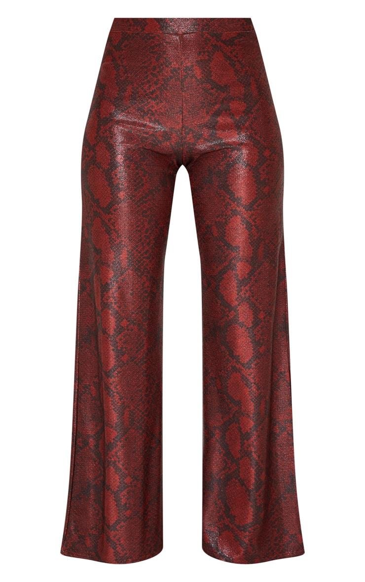 Maroon Metallic Snake Wide Leg Trousers 4