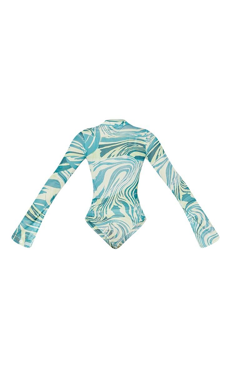 Petite Khaki Tiger Print High Leg Mesh Long Sleeve Bodysuit 6