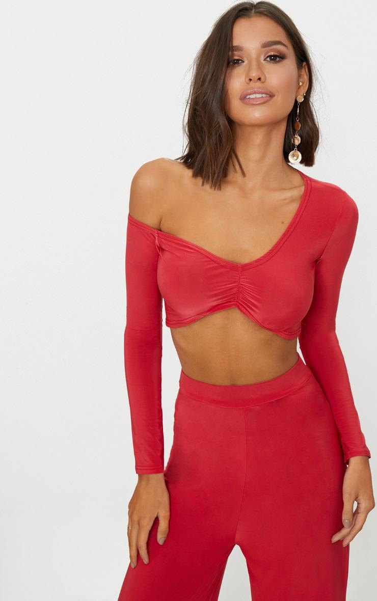 Red Slinky One Shoulder Long Sleeve Crop Top  1