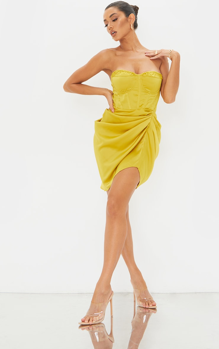 Light Lime Satin Bandeau Corset Detail Gathered Skirt Bodycon Dress 1