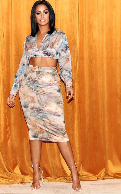 Blue Rennaisance Print Slinky Midi Skirt