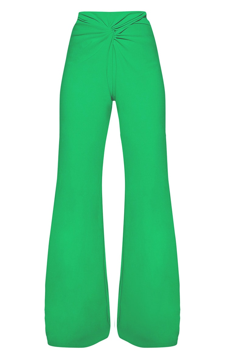 Green Knot Front Flared Pants 3