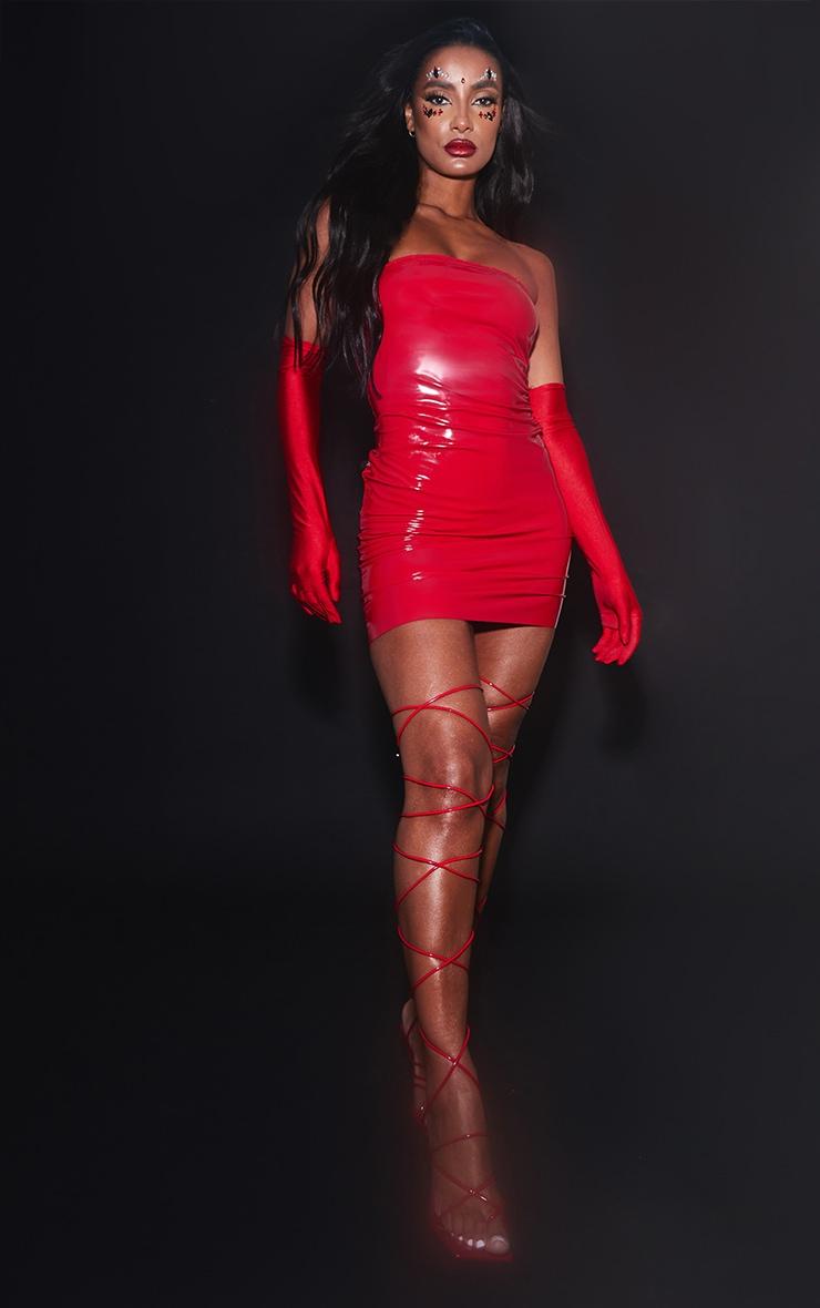 Red PU Bandeau Bodycon Dress 1