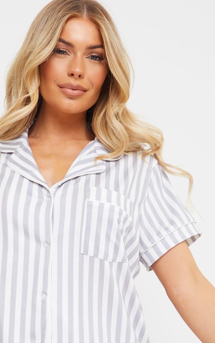Grey Stripe Print Oversized Jersey Button Up Short PJ Set 4
