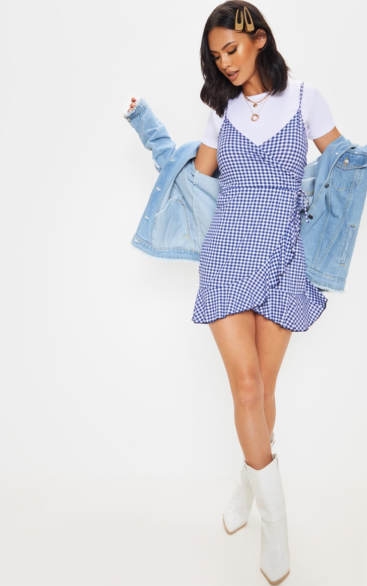 Blue Gingham Strappy Frill Wrap Tea Dress 4