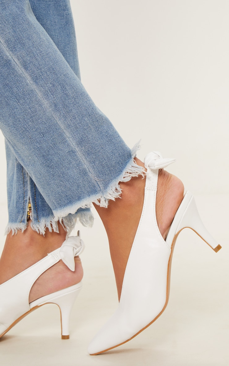 White Bow Back Slingback Mule  2