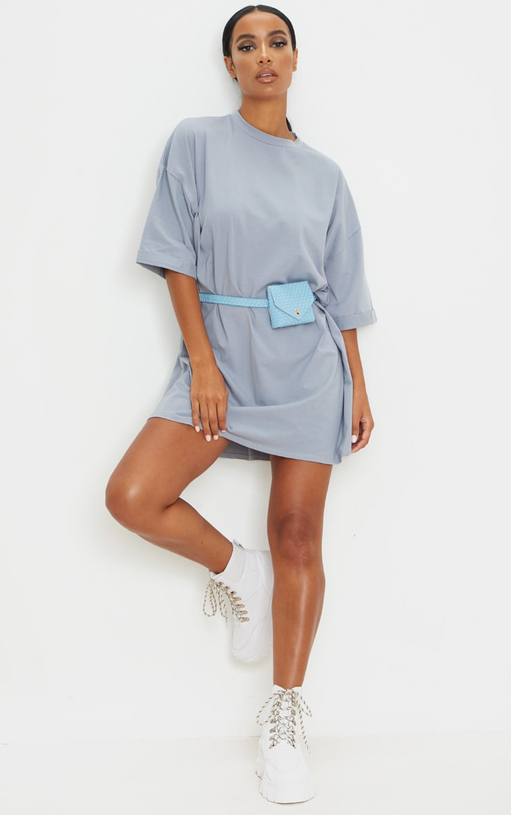 Charcoal Blue Oversized Boyfriend T Shirt Dress 3