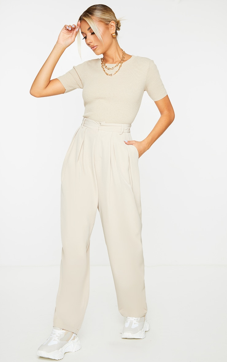 Stone Woven High Waisted Cigarette Pant 1