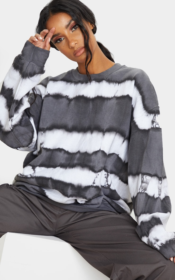 Grey Oversized Tie Dye Sweatshirt 1