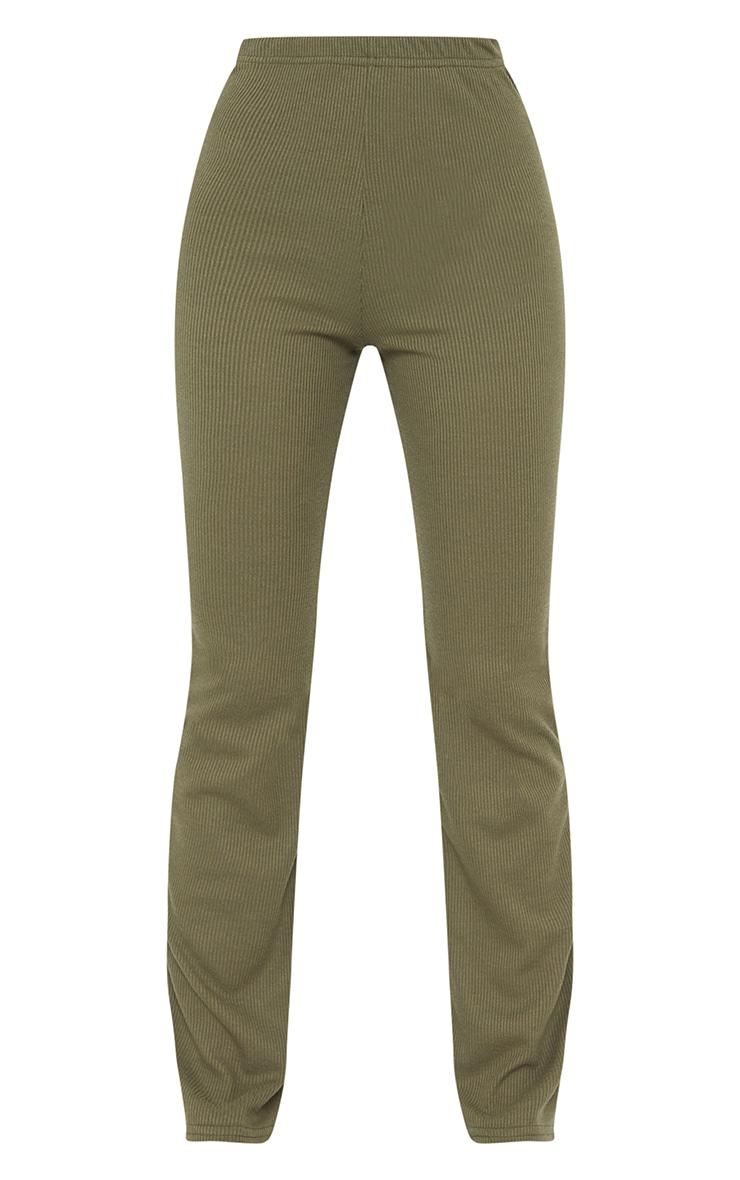 Khaki Ribbed Straight Leg Trousers 5