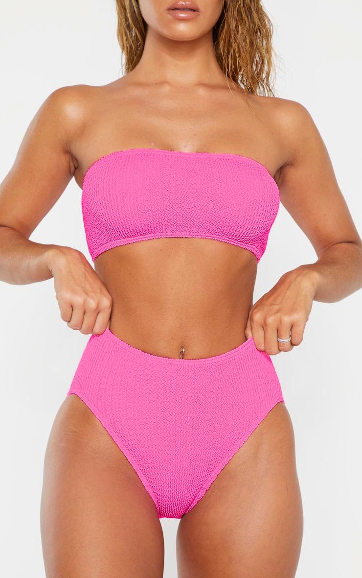 Neon Pink Crinkle High Waist Bikini Bottom 6