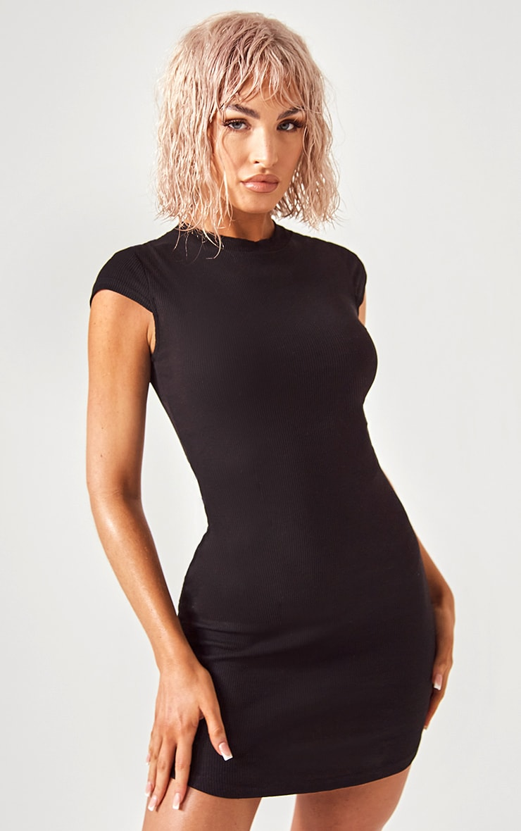 Essential Black Cotton Blend High Neck Ribbed Bodycon Dress 1