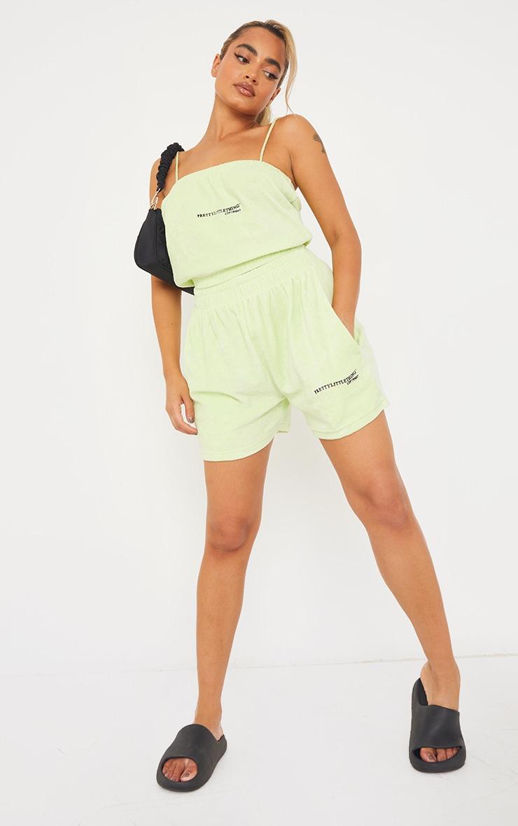 PRETTYLITTLETHING Petite Mint Velour Shorts 1