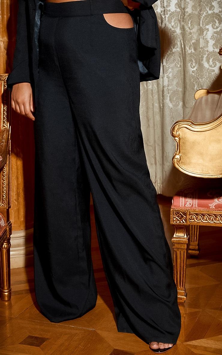 Plus Black Cut Out Detail Wide Leg Trouser 3