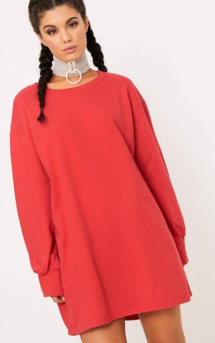7e91389219 Sianna Red Oversized Sweater Dress image 1