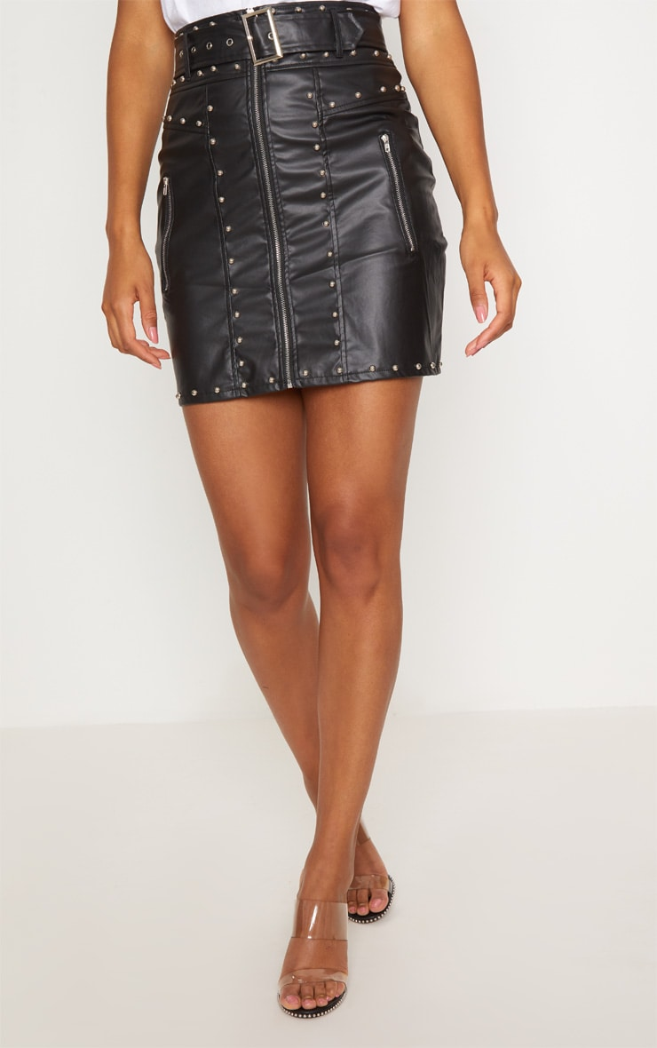 Black Faux Leather Stud Detail Belted Mini Skirt 2