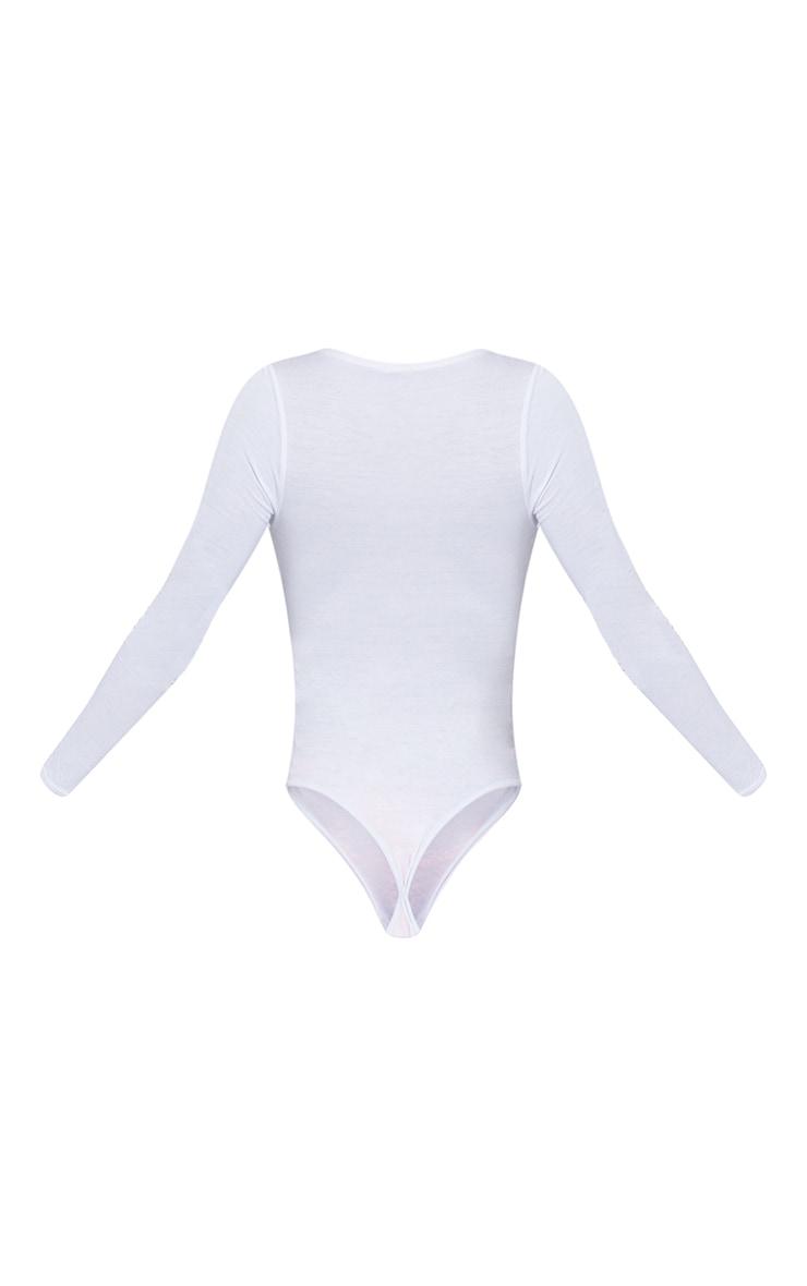 Tall White Basic Plunge Long Sleeve Bodysuit 6