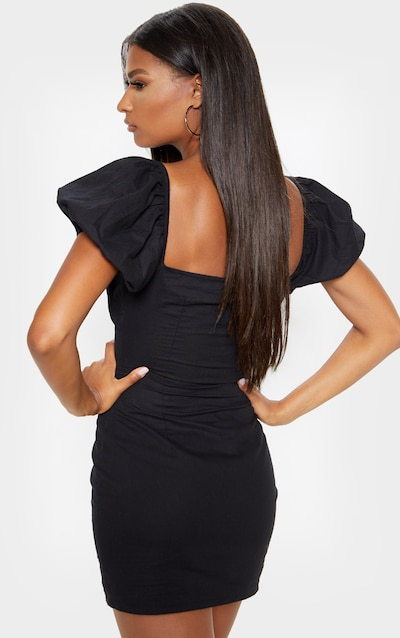 Black Ruched Cup Lace Up Bodycon Dress