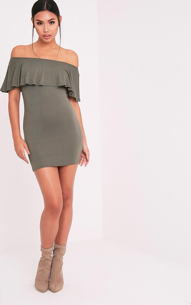 Sereen Khaki Frill Bardot Bodycon Dress 5