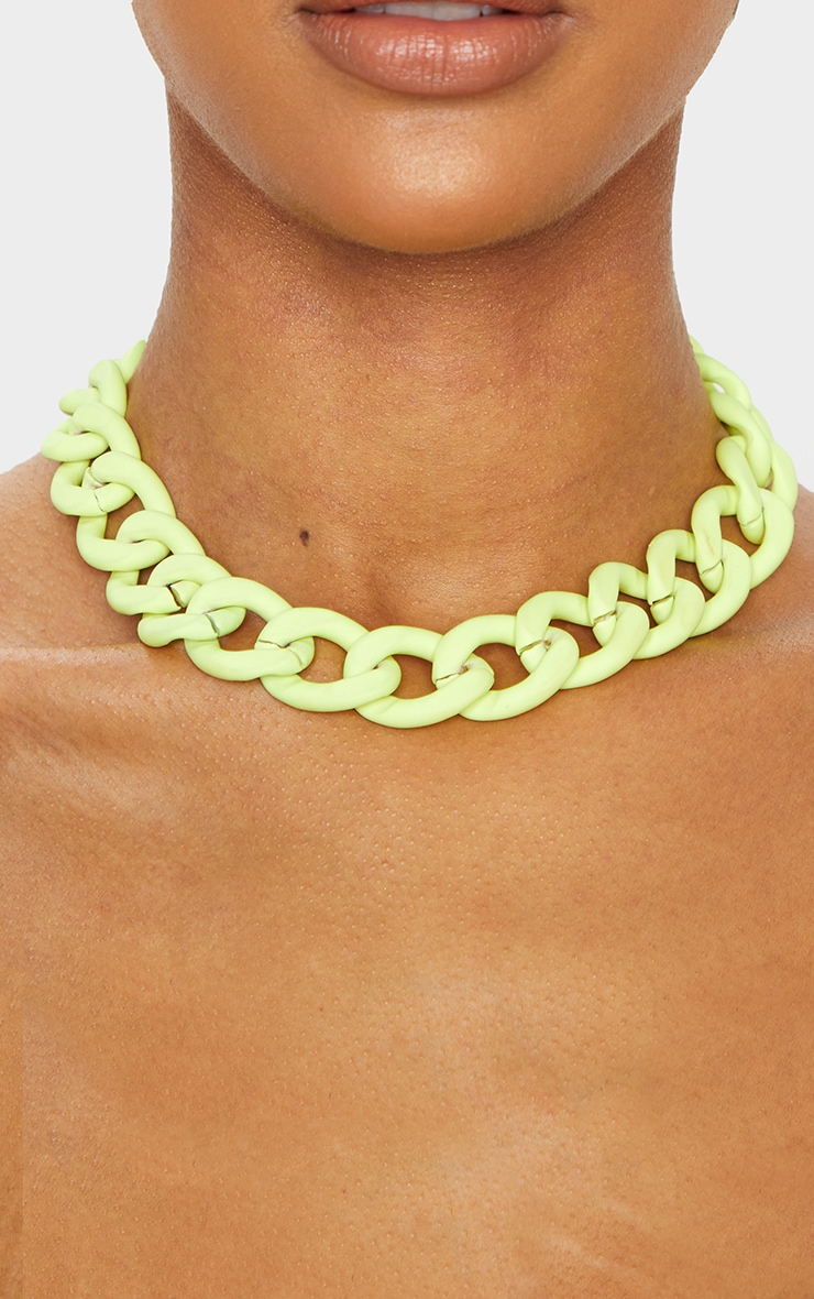 Neon Lime Chain Choker 2