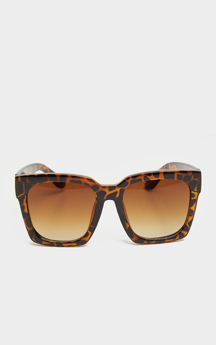 Brown Tortoise Oversized Square Sunglasses 2