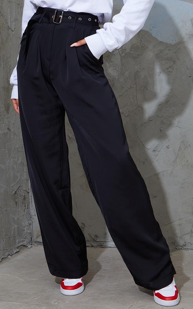 Black Belted Woven Wide Leg Pants 2
