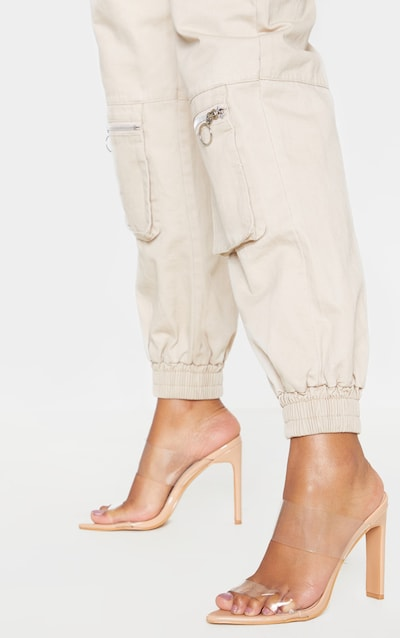 Nude Twin Strap Point Toe Mule Sandal
