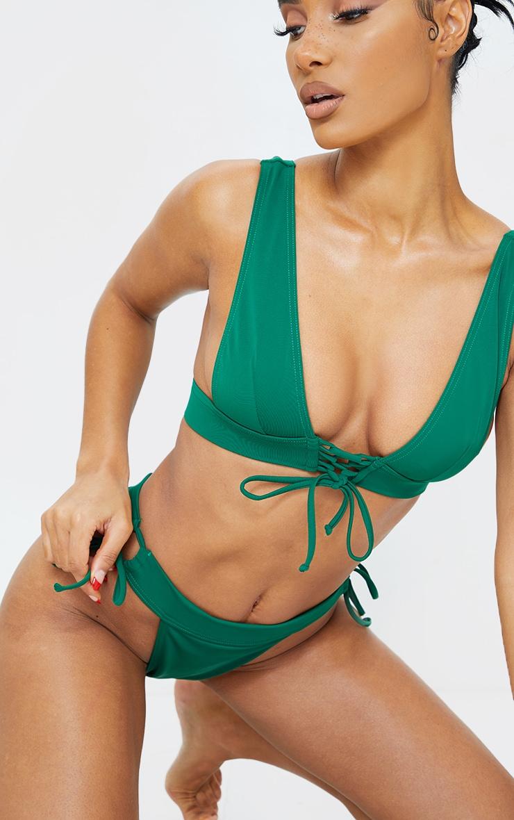 Green Tie Up Plunge Bikini Top 4