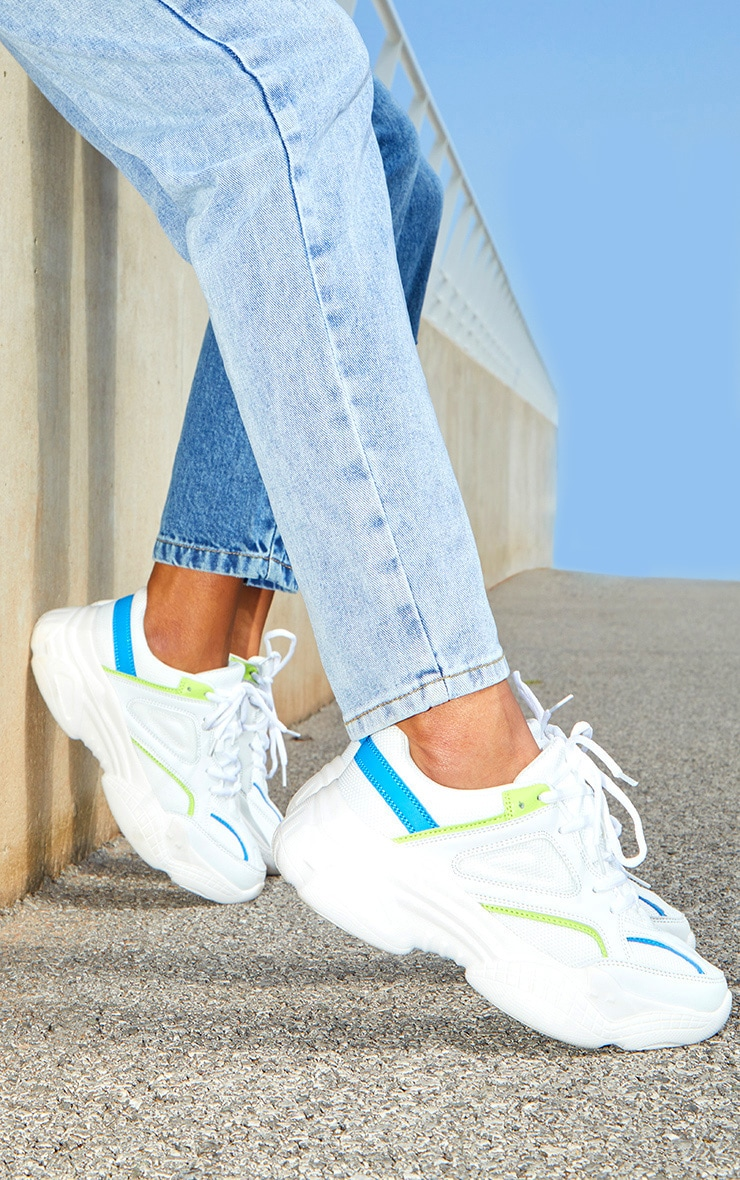 White Constant Colour Panels Arch Sole Chunky Sneakers 1