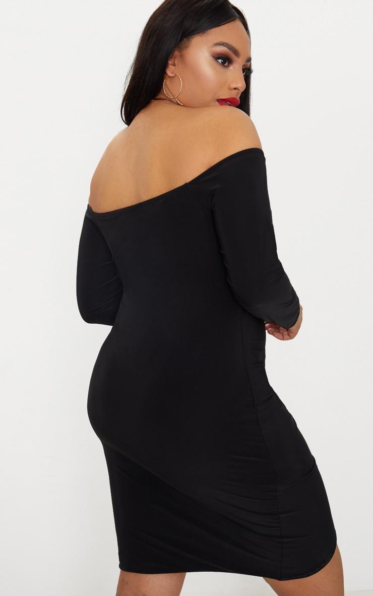 Plus Black Slinky Ruched Detail Bardot Bodycon Dress 2