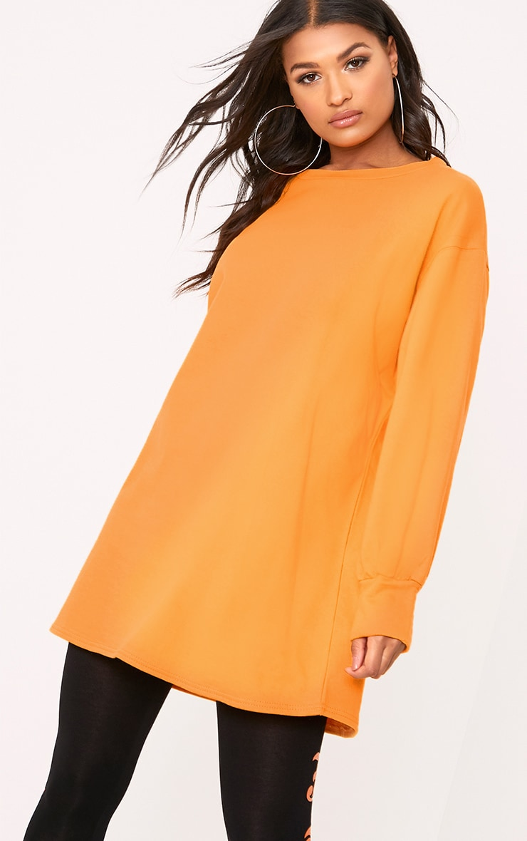cc0a0f108f0 Sianna Orange Oversized Sweater Dress image 1