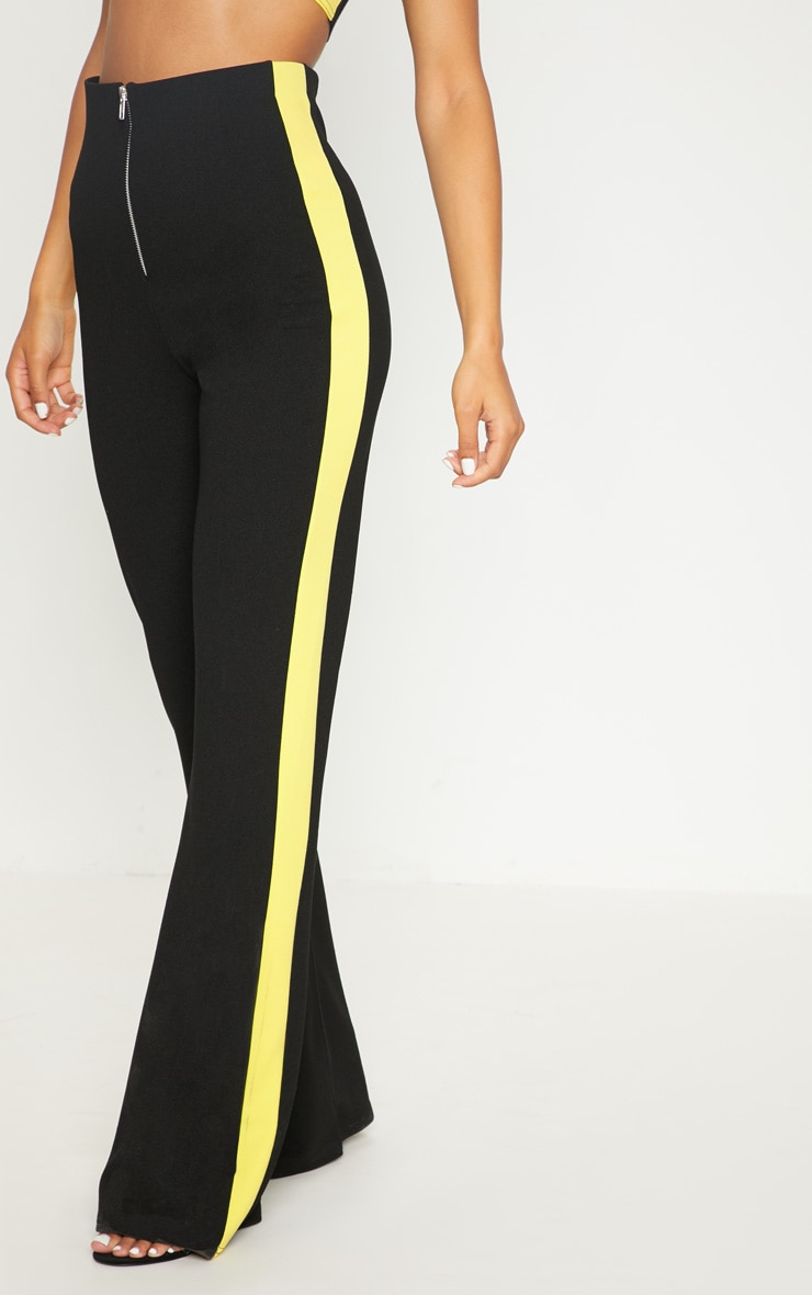 Black High Waisted Side Stripe Trouser 2