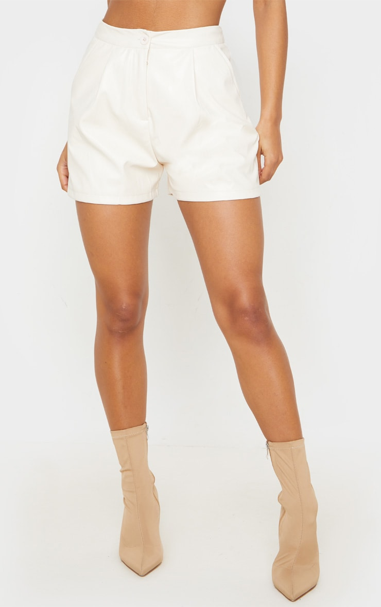 Cream Faux Leather Tailored Shorts 2