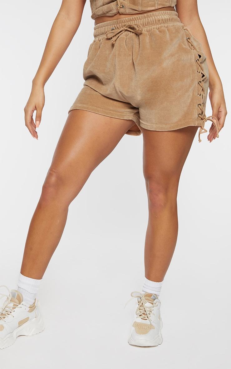 Shape Stone Velour Lace Up Side Shorts 2