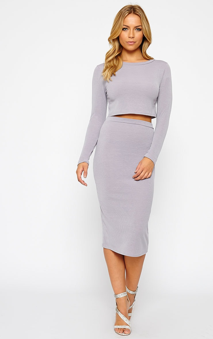 Basic Grey Long Sleeve Premium Ribbed Crop Top 3