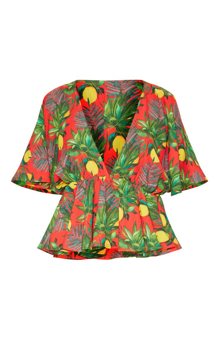 Top décolleté rouge en mousseline de soie à manches courtes et imprimé fruits 3
