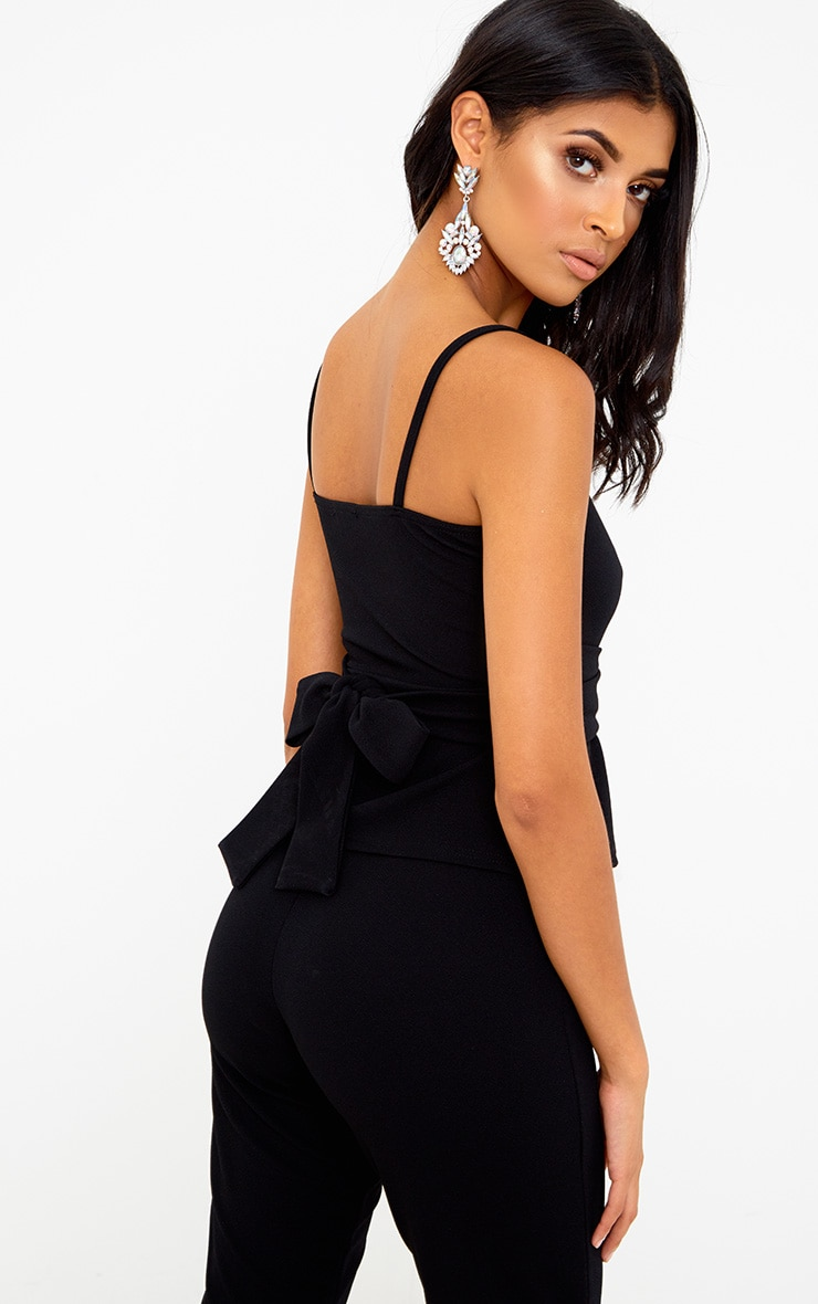 Black Square Neck Tie Waist Cami Top 1